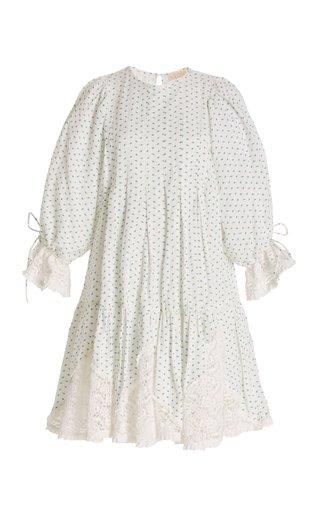 Smocked Linen-Blend Mini Dress
