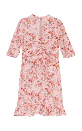 Gathered Eco-Jacquard Mini Dress