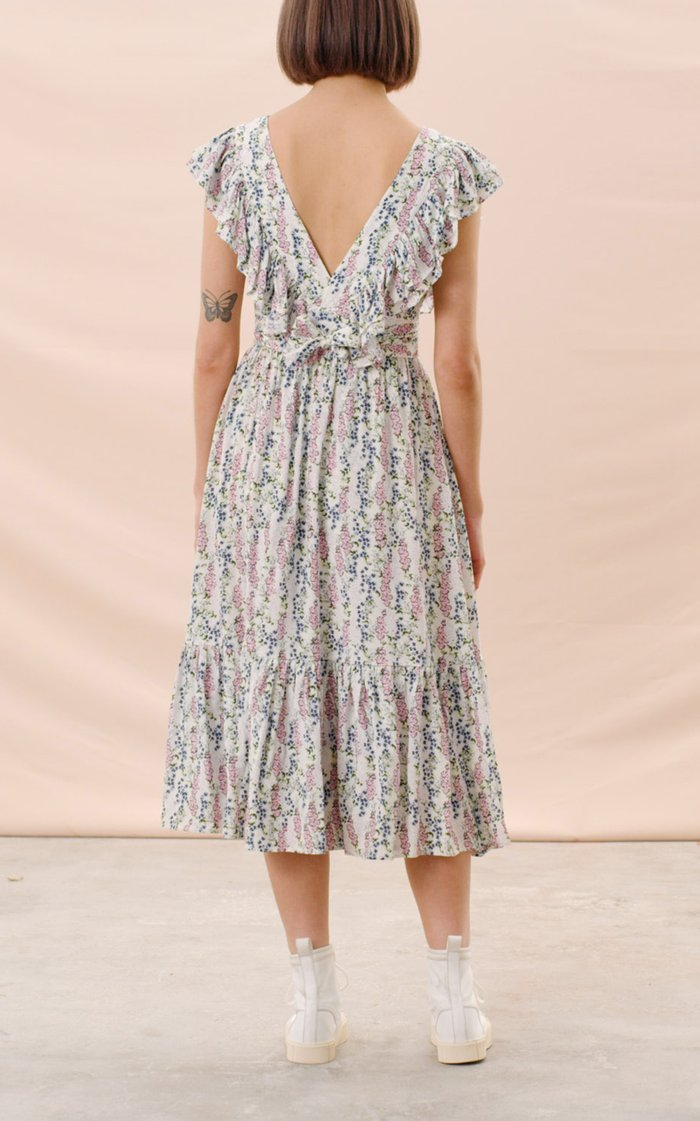 Frill-Trimmed Eco-Jacquard Midi Dress