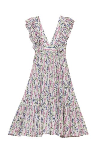 Frill-Trimmed Eco-Jacquard Midi Dress