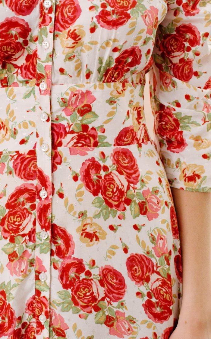 Ruched Eco-Jacquard Maxi Dress
