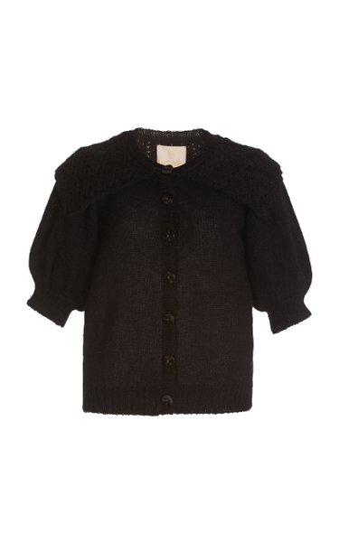 Ruffled Mohair-Wool Knit Cardigan