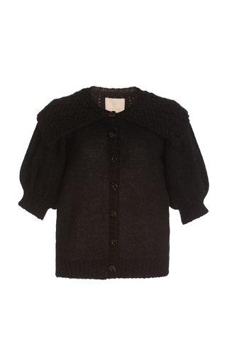 Short Sleeve Mohair-Wool Knit Cardigan