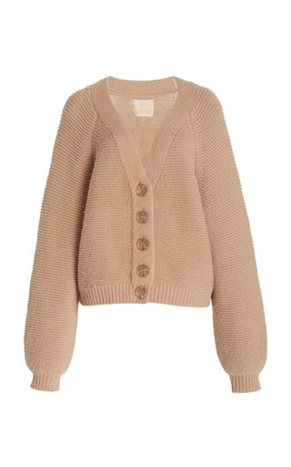 Brushed Cotton-Blend Knit Cardigan
