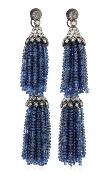 18K Gold & Blue Sapphire Double Tassel Diamond Earrings