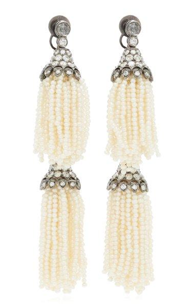 18K Gold & Pearl Double Tassel Diamond Earrings