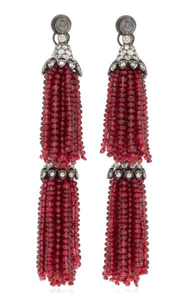 18K Gold & Red Spinel Double Tassel Diamond Earrings