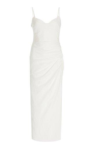 Ariel Draped Linen Maxi Dress