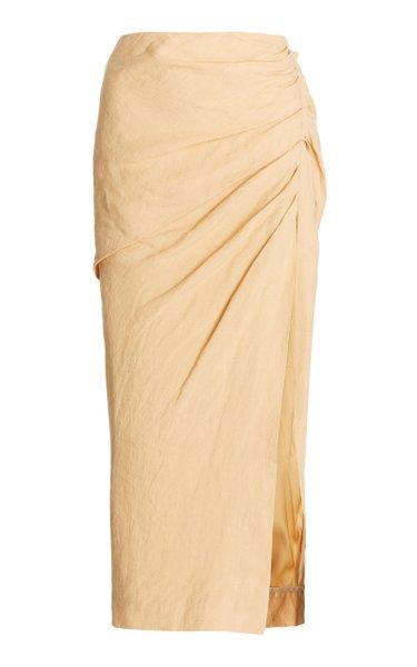 Hayden Draped Woven Midi Skirt