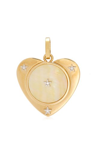 Anna Maccieri Rossi Heart Charm with Mother Of Pearl & Diamonds