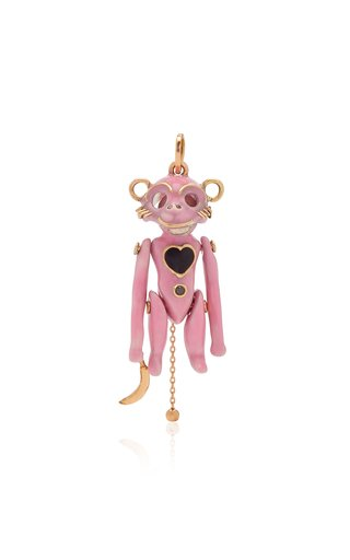 "Castro NYC ""George"" Doll In Pink Enamel with Grey & Black Diamonds"