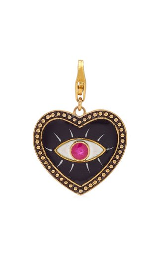Holly Dyment Black Enamel Evil Eye Heart Charm with Ruby & Gold Ball Trim