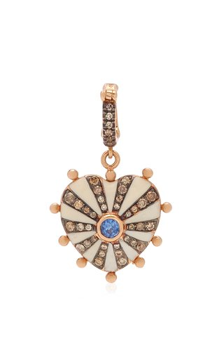 Joanna Dahdah Medium Heart Charm with Brown Diamond Pave & Blue Sapphire