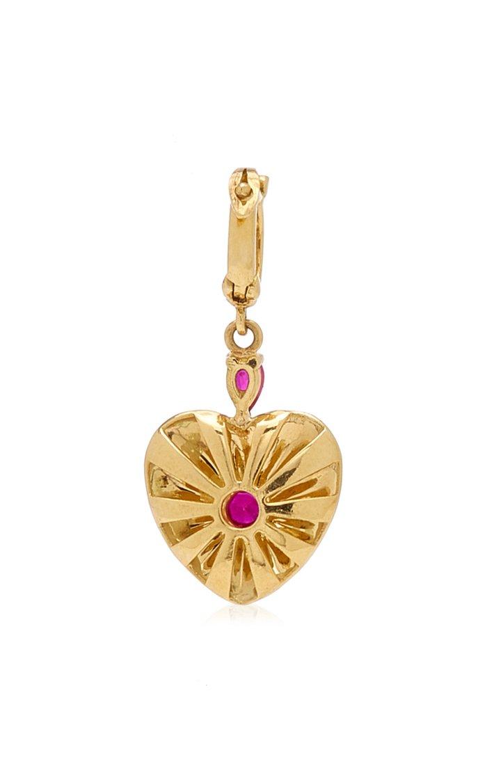 Joanna Dahdah Small Heart Charm with Brown Diamonds & Rubies