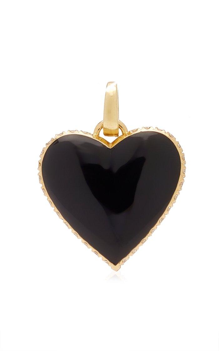 Kwit Amortentia Heart Charm with Diamonds & Black Enamel