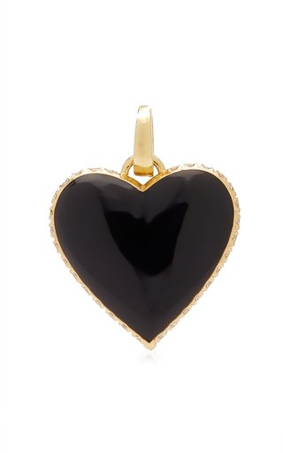 Kwit Amortentia Heart Charm with Diamonds & Black Enamel