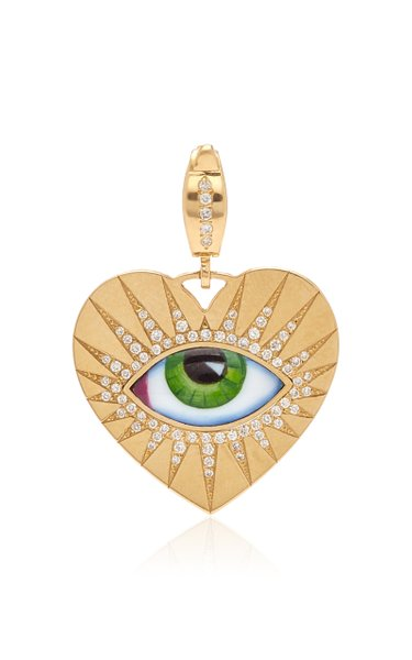 Lito Heart Charm with Green Enameled Eye