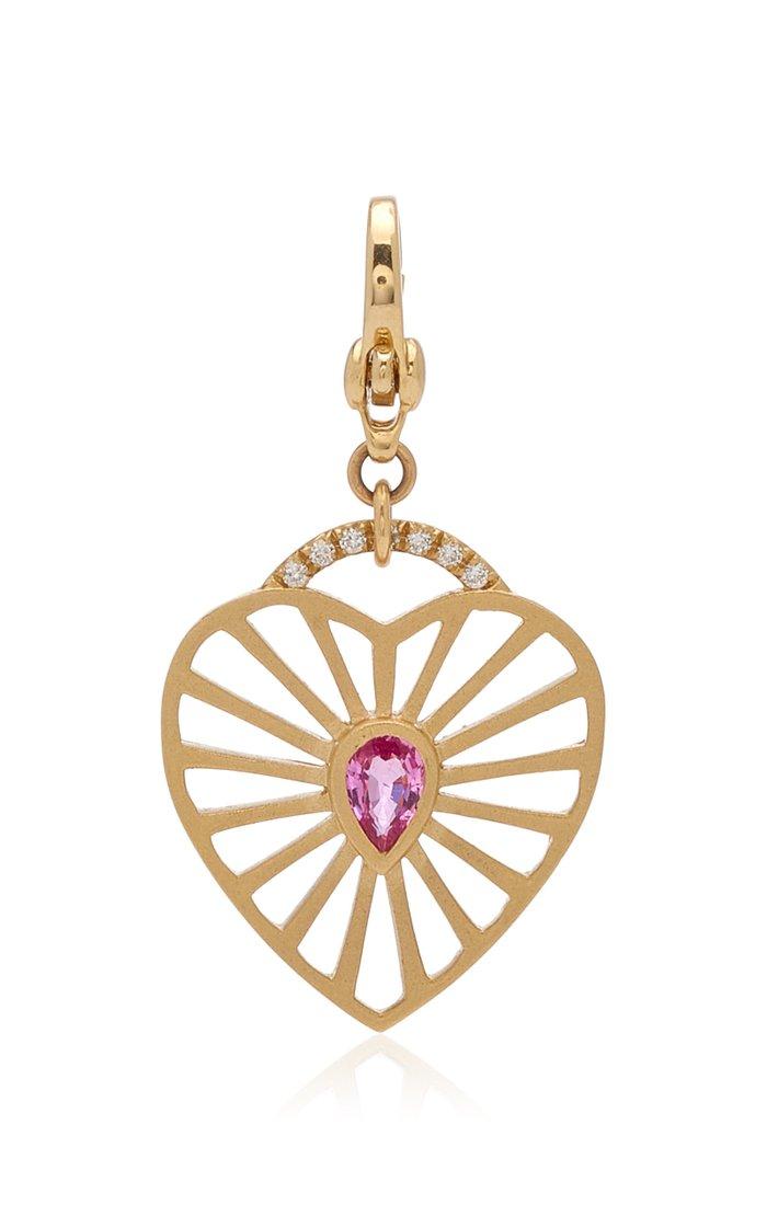 Michelle Fantaci Amaranthus Heart Charm with Rose-Cut Sapphire