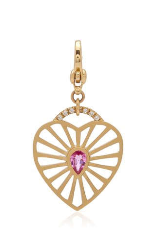 Michelle Fantaci Amaranthus Heart Charm with Rose-Cut Sapphire
