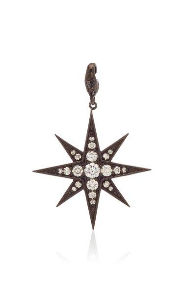 Nancy Newberg Polished Ruthenium Eight Pointed Star Charm