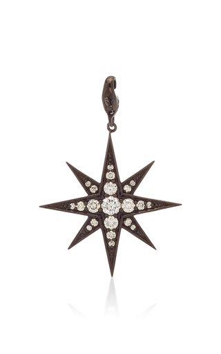 Nancy Newberg Polished Ruthenium Eight Pointed Star Charm