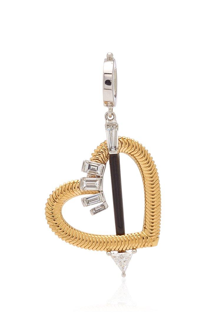 Nikos Koulis Heart Charm with White Diamonds & Black Enamel