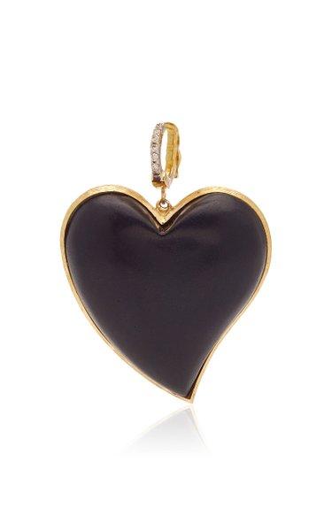 Silvia Furmanovich Small Ebony Carved Heart with Light Brown Diamonds