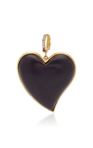 Silvia Furmanovich Small Ebony Carved Heart with Light Brown Diamonds