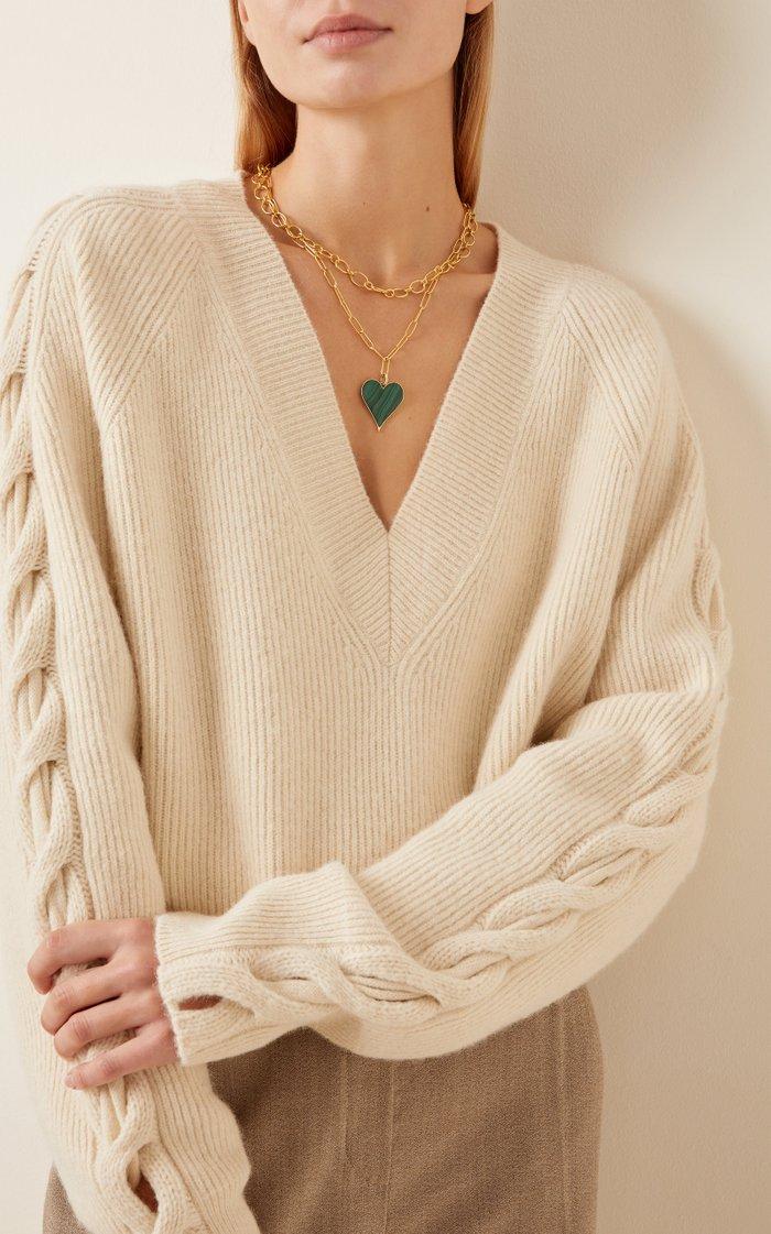 Prasi Heart Charm with Malachite