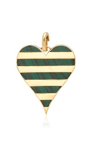 Prasi Heart Charm with Malachite