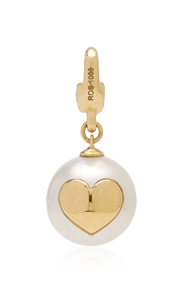 W.Rosado Pearl Id Charm with Gold Heart