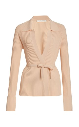 Seamless Ribbed-Knit Wrap Cardigan