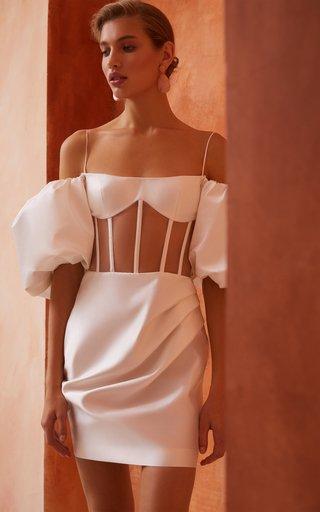Draped Off-The-Shoulder Satin Mini Dress