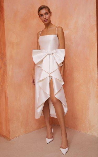 Bow-Embellished Silk Midi Dress