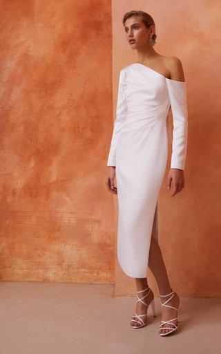Asymmetric Draped Satin Dress