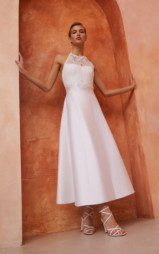 Lace-Trimmed Silk Midi Dress