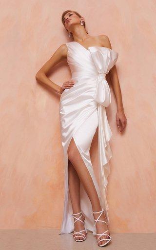 Asymmetric Bow Satin Gown