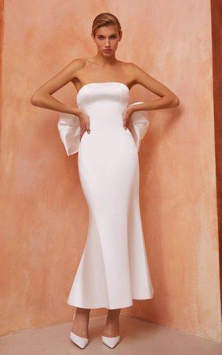 Bow-Embellished Satin Maxi Dress