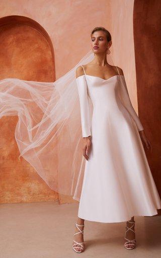 Cold-Shoulder Silk Midi Dress