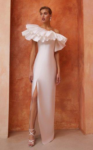Asymmetric Ruffled Silk Maxi Dress
