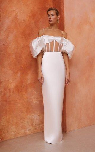 Puffed-Sleeve Satin Maxi Dress