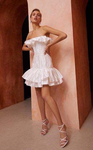 Ruffled Silk Corset Mini Dress