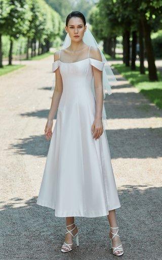 Off-The-Shoulder Silk Midi Dress