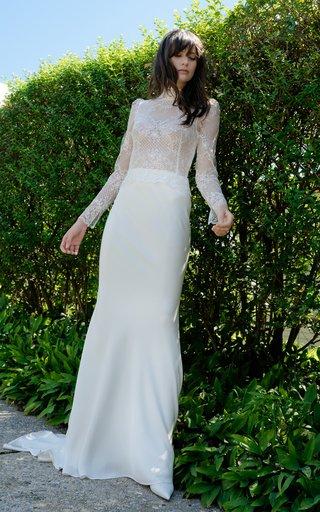 Clarice Long Sleeve Lattice Lace High Neck Sheath Gown