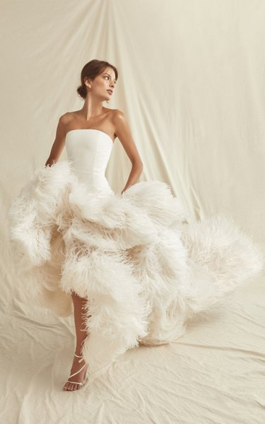 Hand Embroidered Silk Organza Feather Gown