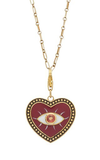 Holly Dyment Wine Evil Eye Heart Charm With Ruby And Gold Ball Trim
