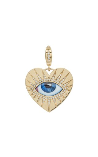 Lito Heart Charm With Small Blue Enameled Eye And White Brilliant-Cut Diamonds
