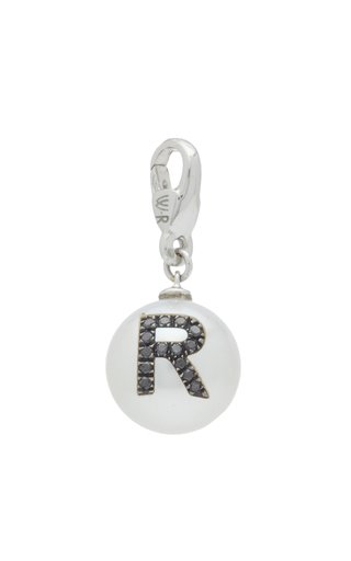 W.Rosado Pearl Id Charm With Pavé Black Diamond Letter