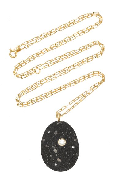 One-Of-A-Kind Aurora 18k Gold Beach Stone Necklace