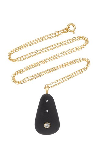 One-Of-A-Kind Plumb 18k Gold Beach Stone Necklace